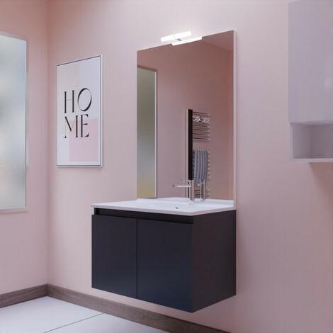 Meuble PROLINE 80 cm avec plan vasque et miroir - Gris anthracite