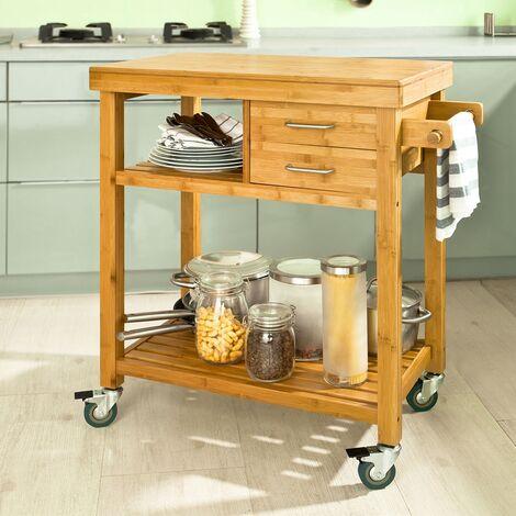Meuble rangement cuisine roulant en Bambou, Chariot de cuisine, Desserte à roulettes FKW26-N SoBuy®