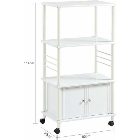 Meuble rangement cuisine roulant en bois, Chariot de cuisine de service micro-ondes -Blanc SoBuy® FRG12-W