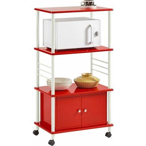 Meuble rangement cuisine roulant en bois, Chariot de cuisine de service micro-ondes SoBuy® FRG12-R