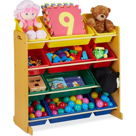 Meuble rangement jouet, avec 12 boîtes de stockage, pour filles et garçons, HLP : 87,5 x 86 x 38,5 cm, coloré