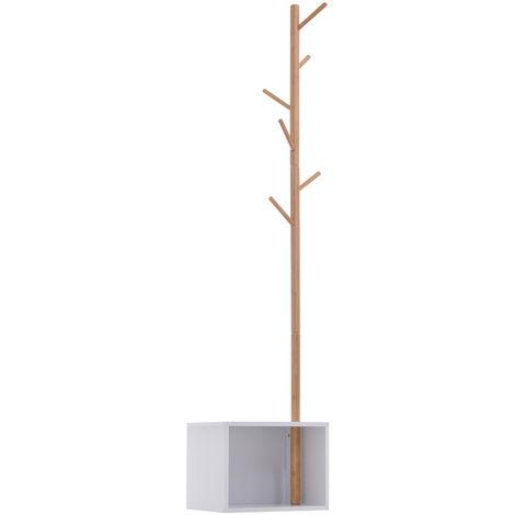 Meuble rangement porte-manteaux 2 en 1 design contemporain cosy dim. 40L x 30l x 180H cm MDF blanc bois massif bambou - Blanc