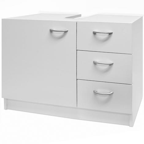 Meuble rangement sous lavabo avec 3 tiroirs - blanc - Salle de bain ...