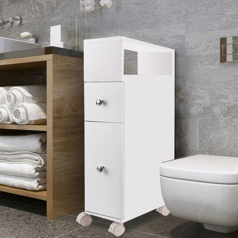 c106d820feee2d Meuble rangement WC sur roulettes 2 tiroirs blanc - 12742