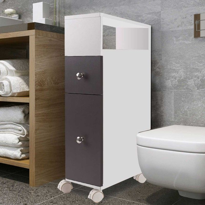 Meuble rangement WC sur roulettes 2 tiroirs gris - 12743