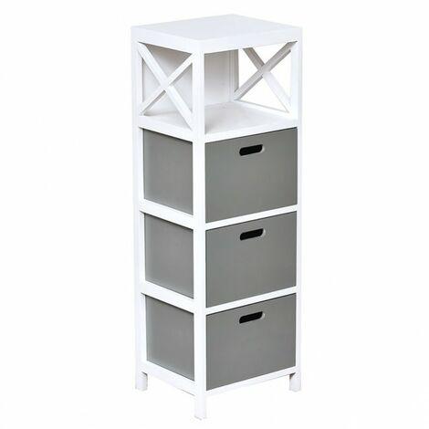 Meuble rectangulaire 3 tiroirs bois gris blanc - Gris