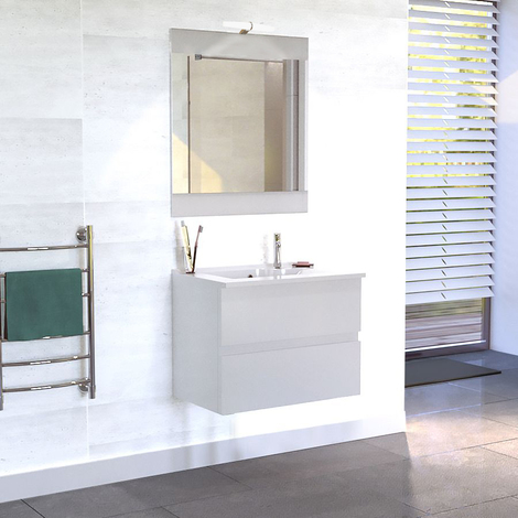 Meuble ROSALY 80 cm avec plan vasque et miroir - blanc brillant