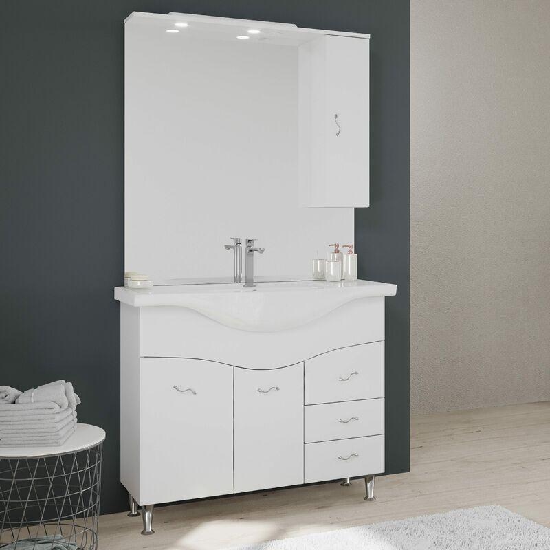 Meuble Salle De Bain 105 Cm Classique Avec Lavabo Et Miroir Easy 02010043000021