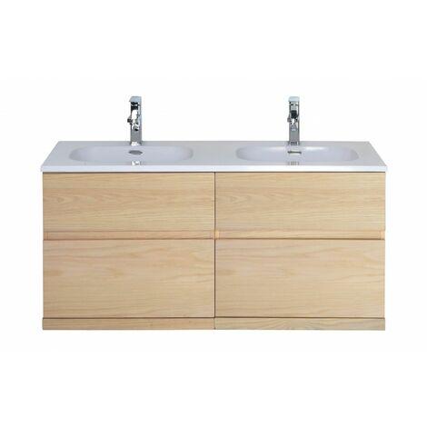 Meuble salle de bain 120 cm à suspendre chêne ENIO - Bois Clair
