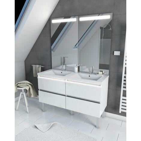 Meuble salle de bain 130 cm blanc - avec tiroirs - double vasque et miroir - MERELY WHITE 130