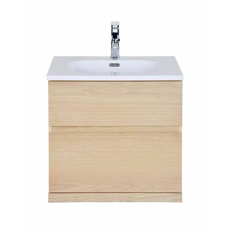 Meuble salle de bain 60 cm à suspendre chêne ENIO - Bois Clair