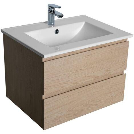 Meuble salle de bain 60 cm à suspendre chêne SORRENTO