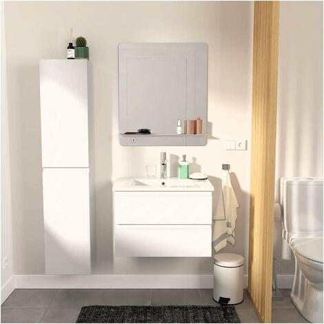 Meuble Salle de Bain 60 cm + Colonne Blanc + Miroir SORRENTO - Blanc