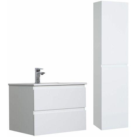 Meuble Salle de Bain 60 cm + Colonne Blanc SORRENTO - Blanc