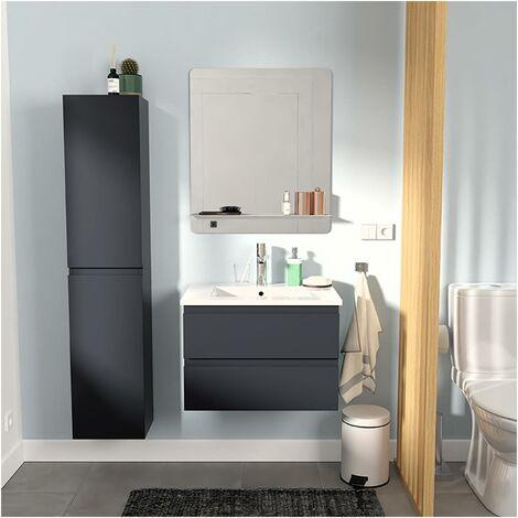 Meuble Salle de Bain 60 cm + Colonne Gris Anthracite + Miroir SORRENTO - Gris foncé