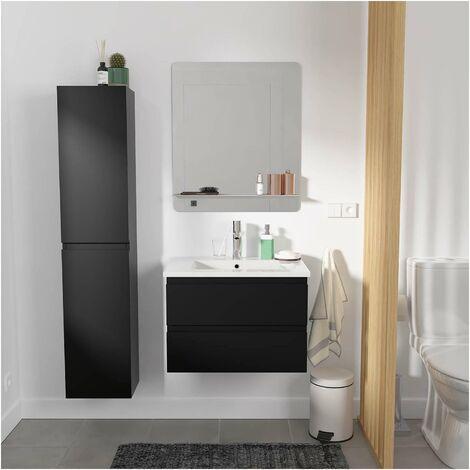 Meuble Salle de Bain 60 cm + Colonne Noir Carbone + Miroir tablette Blanche SORRENTO - Noir