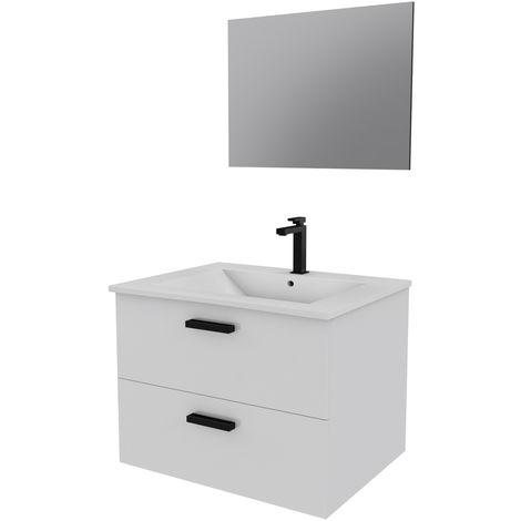 Meuble salle de bain 60 cm monté et suspendu - H46xL60xP45cm - avec tiroirs - vasque et miroir - BOX-IN 60