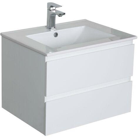 Meuble Salle de Bain 60 cm Suspendu Blanc SORRENTO - Blanc