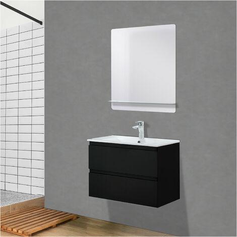 Meuble Salle de Bain 60 cm Suspendu Noir Carbone + Miroir tablette Blanche SORRENTO - Noir