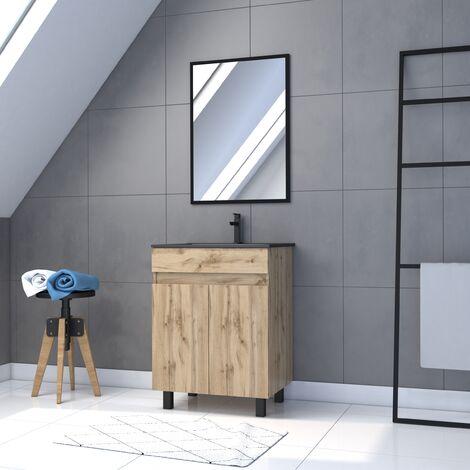 Meuble salle de bain 60x80cm - 2 portes finition chêne naturel + vasque noir + miroir - TIMBER 60 - Pack 01