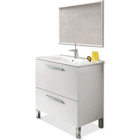 """main image of """"Meuble salle de bain 80 cm + 1 Miroir coloris blanc brillant - Longueur 80 x Hauteur 80 x Profondeur 45 cm"""""""