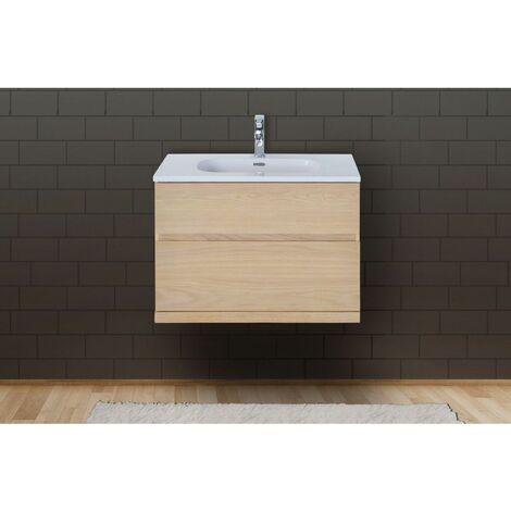 Meuble salle de bain 80 cm à suspendre chêne ENIO - Bois Clair