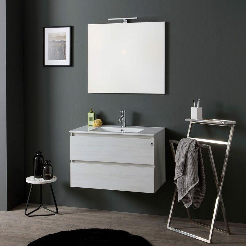 Meuble salle de bain 80 cm avec vier ceramique et led light 02010041100002 - Evier salle de bain ...