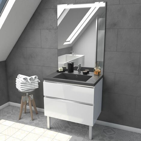 Meuble salle de bain 80 cm blanc - avec tiroirs - vasque et miroir - MERELY STONE 80