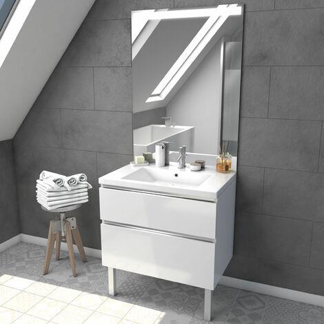 Meuble salle de bain 80 cm blanc - avec tiroirs - vasque et miroir - MERELY WHITE 80