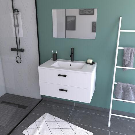 Meuble salle de bain 80 cm monté et suspendu - H46xL80xP45cm - avec tiroirs - vasque et miroir - BOX-IN 80