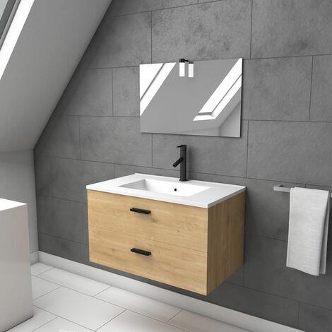 Meuble salle de bain 80 cm monte suspendu finition bois - tiroirs soft close - vasque et miroir