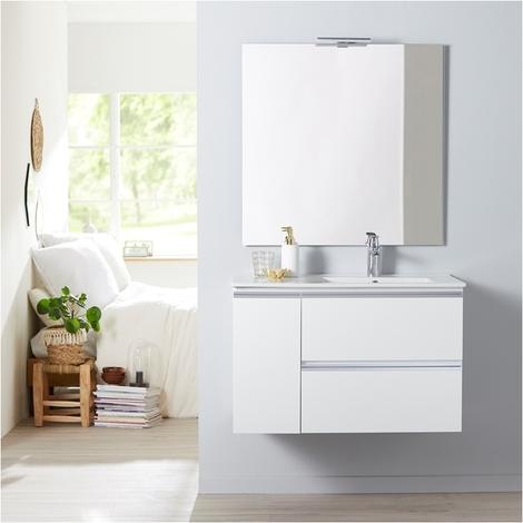 Meuble salle de bain 85 cm à suspendre blanc + miroir + éclairage - Série Dynamic 2 tiroirs + 1 porte