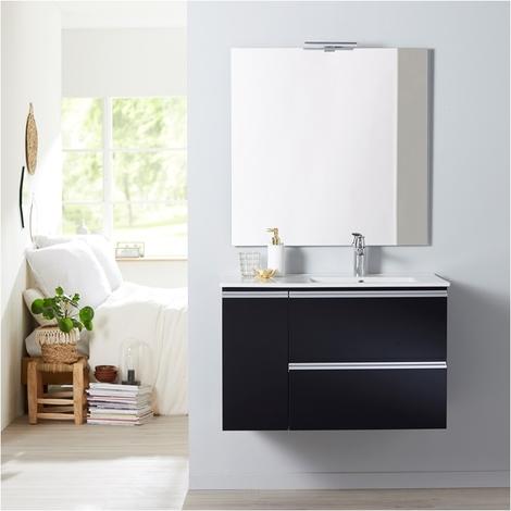 Meuble salle de bain 85 cm a suspendre noir brillant + miroir + eclairage - Serie Dynamic 2 tiroirs + 1 porte