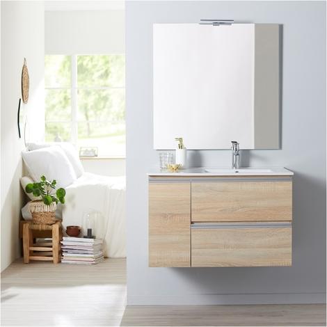 Meuble salle de bain 85 cm à suspendre oak bordolino + miroir + éclairage - Série Dynamic 2 tiroirs + 1 porte