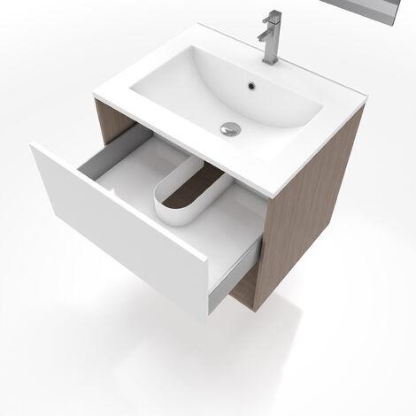 Meuble Salle De Bain A Suspendre 80 Cm Avec Vasque Et Miroir Dual Shade