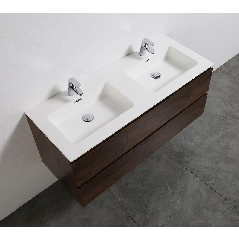 Meuble salle de bain Alice 1200 aspect bois foncé - Miroir en option ...