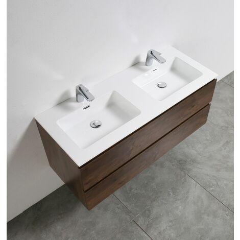 Meuble salle de bain Alice 1200 aspect bois foncé - Miroir ...
