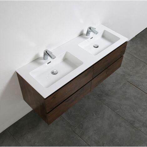 Meuble salle de bain Alice 1380 aspect bois foncé - Miroir en option