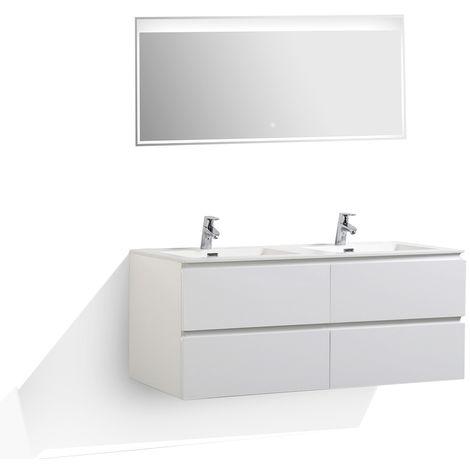 Meuble salle de bain Alice 1380 blanc haute brillance - Miroir en option
