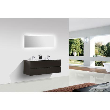 Meuble salle de bain Alice 1380 marron gris Miroir en option