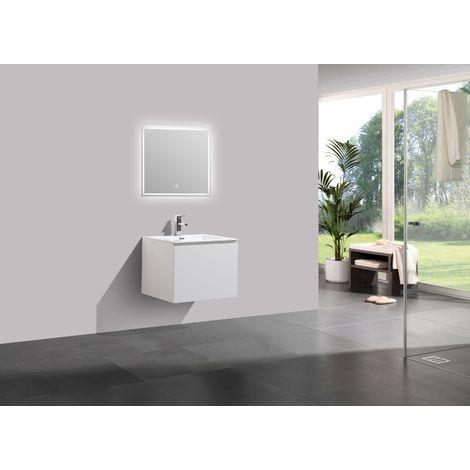 Meuble salle de bain Alice 600 blanc haute brillance - Miroir en option