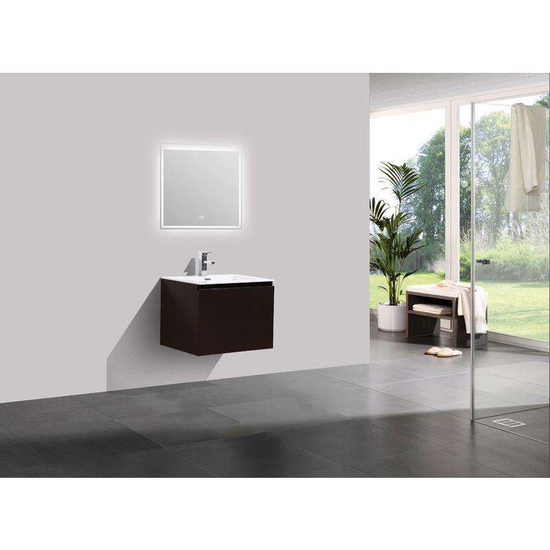 Meuble salle de bain Alice 600 marron gris - Miroir en option