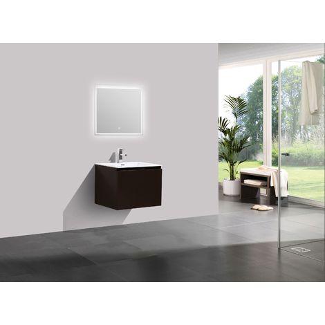 Meuble salle de bain Alice 600 marron gris - Miroir en option: Avec ...