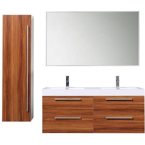 Meuble salle de bain avec colonne de rangement double vasque JAVA - Bois  Foncé 138 CM