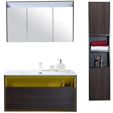 Meuble salle de bain avec colonne de rangement simple vasque Noir et Jaune  100 CM