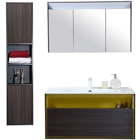 Meuble salle de bain avec colonne de rangement simple vasque noir et jaune 100 cm msd04jq03 - Vasque salle de bain 100 cm ...