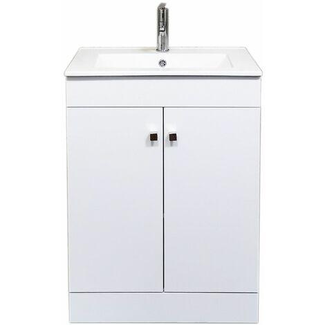 """main image of """"Meuble salle de bain avec vasque/lavabo LOOK 60 Blanc à poser avec plan céramique."""""""