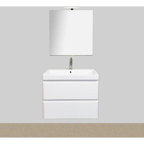 """main image of """"Meuble salle de bain avec vasque/lavabo suspendu BORA 60 laqué Blanc brillant avec miroir simple et Spot LED"""""""