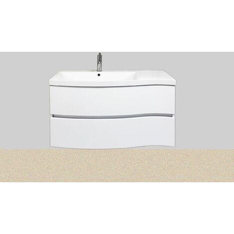 """main image of """"Meuble salle de bain avec vasque/lavabo WAVE 100 suspendu laqué Blanc brillant avec plan résine, meuble monté"""""""