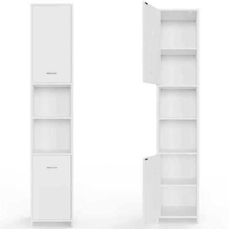 Meuble salle de bain blanc Armoire Colonne Étagère de rangement / 185x30 x30 cm